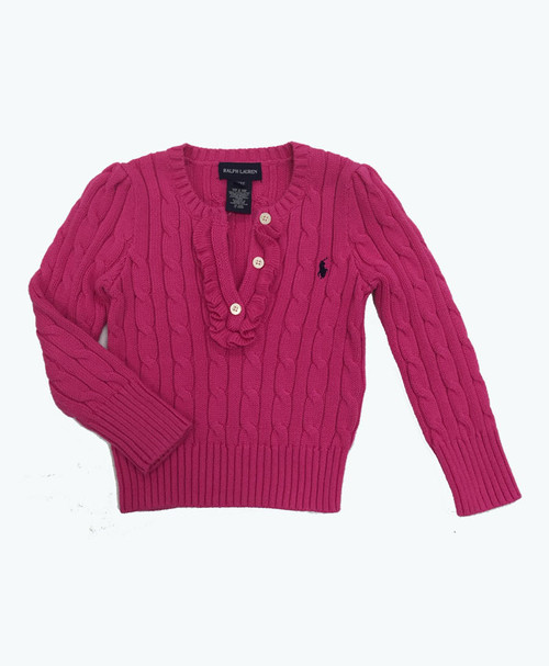 Pink Cable Knit Sweater, Toddler Girls