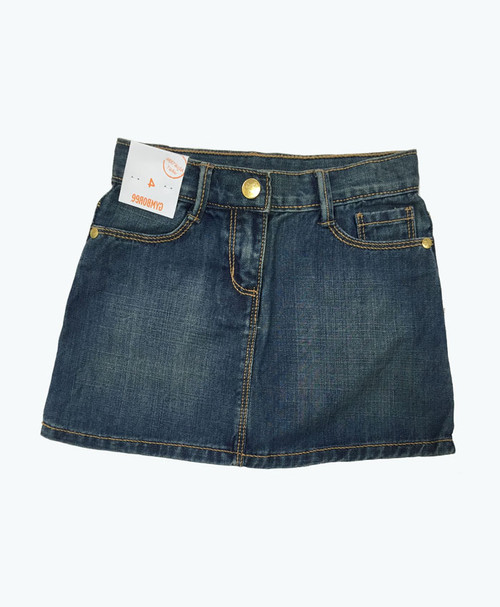 Faded Wash Denim Skirt, Toddler Girls