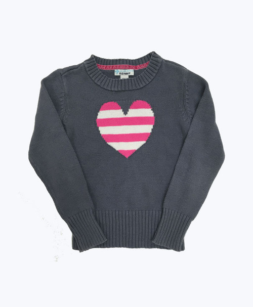 Heart Crew Neck Sweater, Little Girls