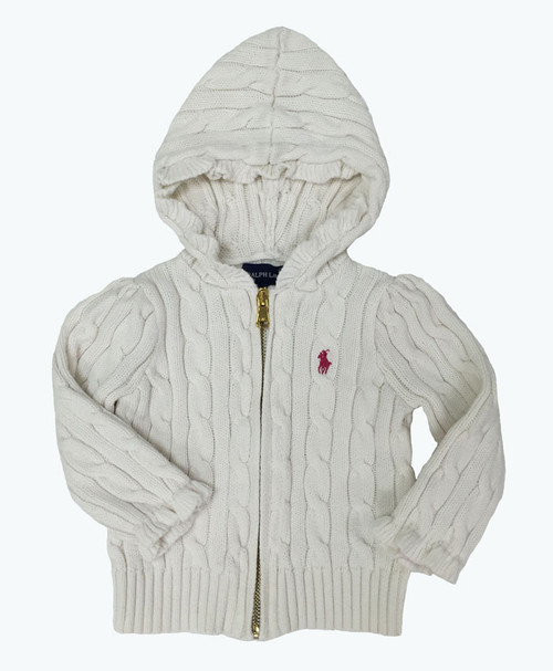 Hooded Cable Cardigan, Baby Girls