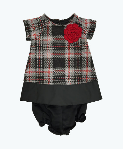 Red Knit Flower Dress, Baby Girls