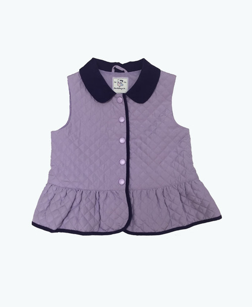 Lilac Quilted Peplum Vest, Toddler Girls