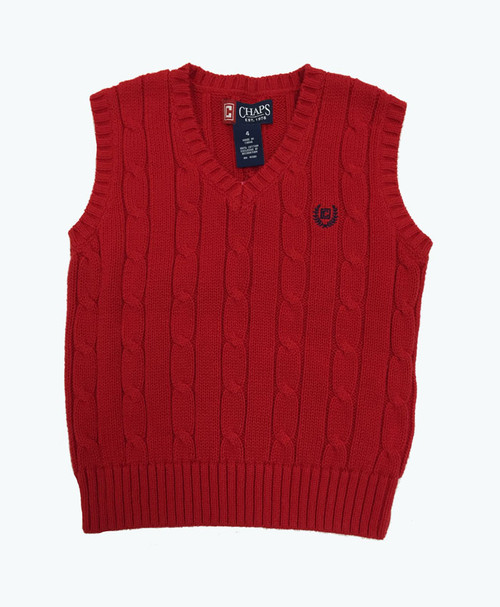 Red Cable Knit Sweater Vest, Toddler Boys
