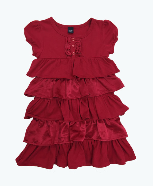 Red Satin & Knit Ruffle Dress