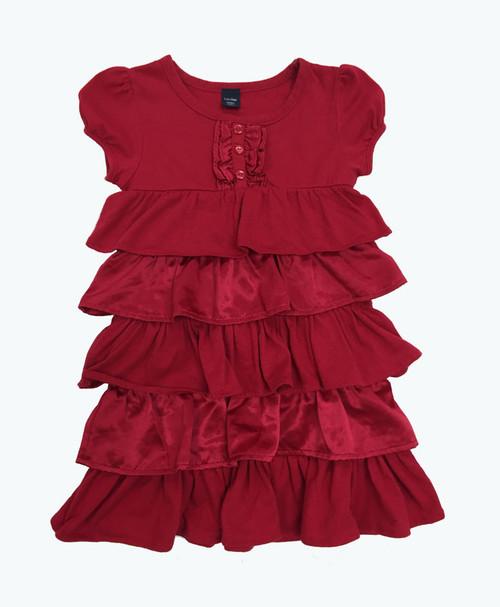 Red Satin & Knit Ruffle Dress, Toddler Girls
