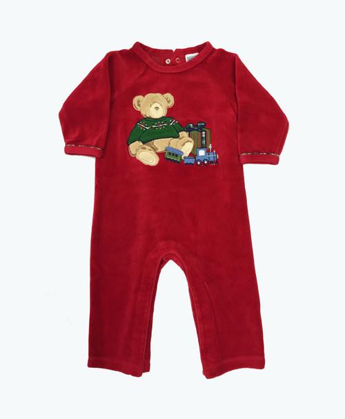 Velour Teddy Bear Romper, Baby Boys