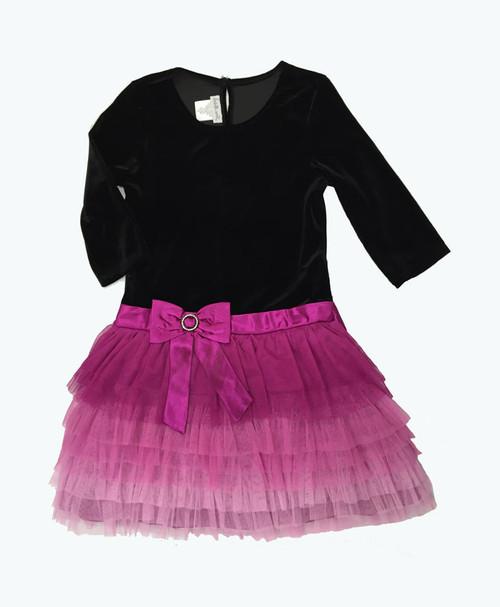 Black Pink Velour Tutu Dress, Little Girls