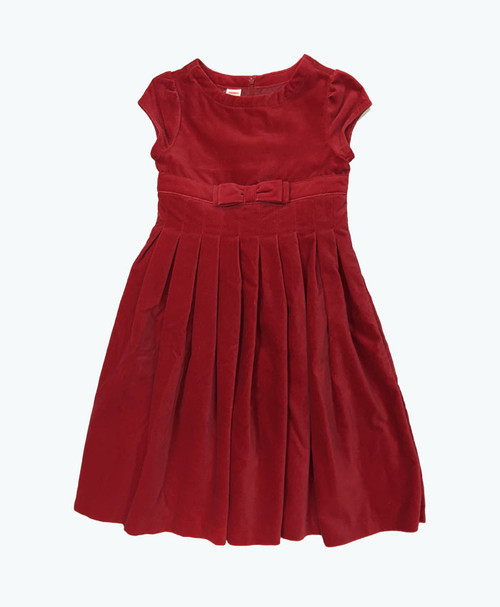 Red Pleated Velour Dress, Big Girls