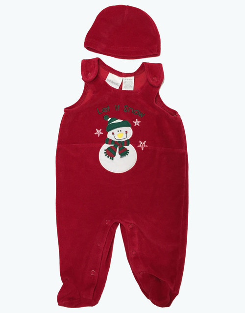 Red Velvour Snowman Overall with Hat