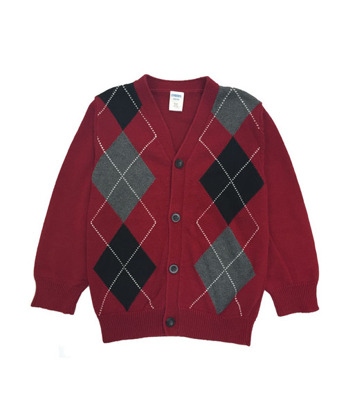 Argyle Red & Black Cardigan, Little Boys