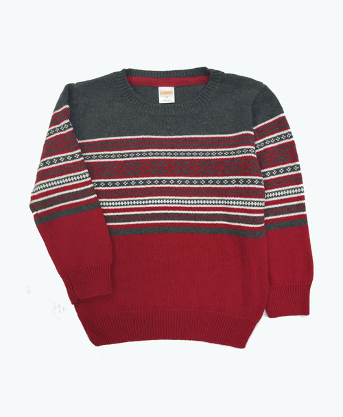 Red & Gray Fair Isle Sweater, Toddler Boys