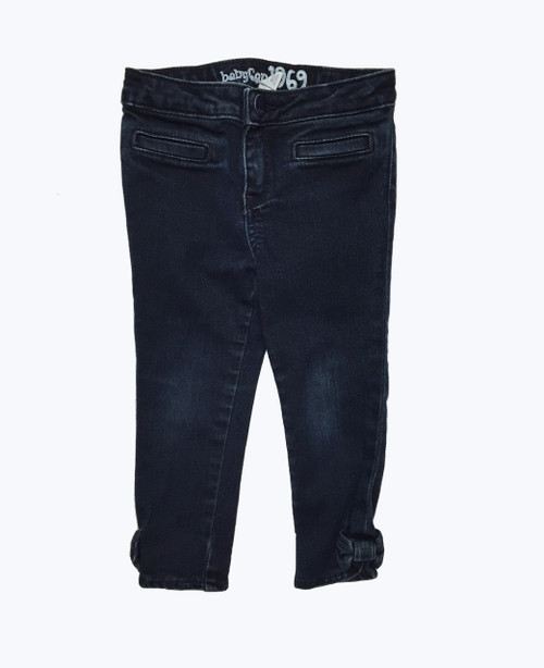 Dark Denim Bow Jeans, Toddler Girls