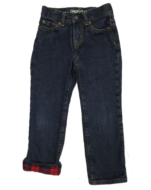 Plaid-Lined Straight Jeans, Little Boys