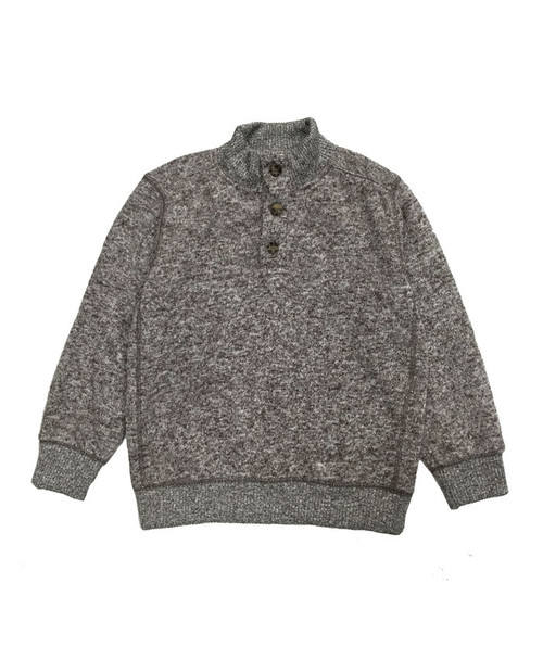 Marl Brown Fleece Pullover Sweater, Little Boys
