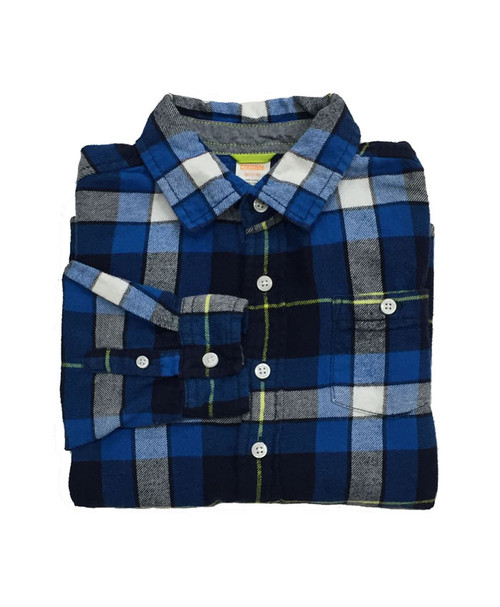 Blue Plaid Flannel Shirt, Little Boys