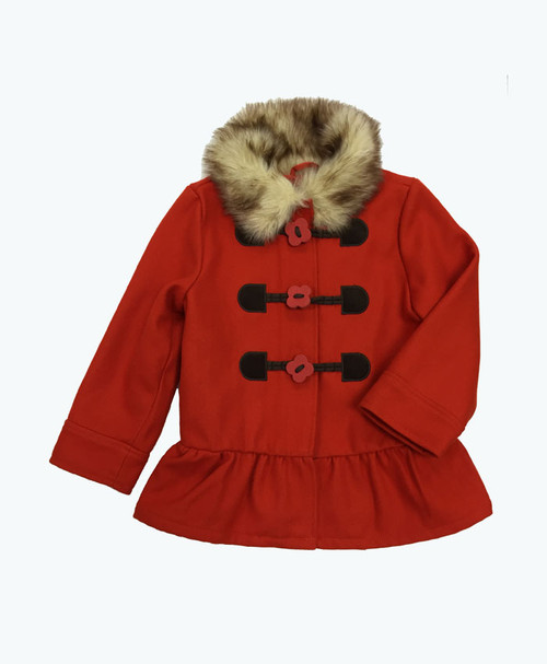 Burnt Orange Wool Peacoat, Toddler Girls
