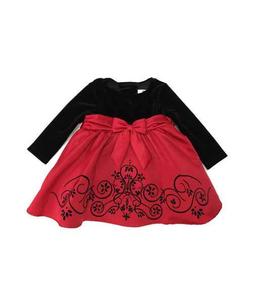 Red Satin Flock Black Velvet Bodice Dress, Baby Girls