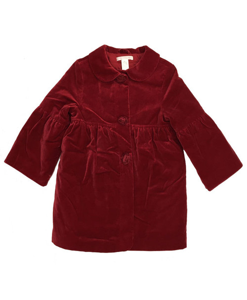 Red Velour Rosette  Coat, Toddler Girls