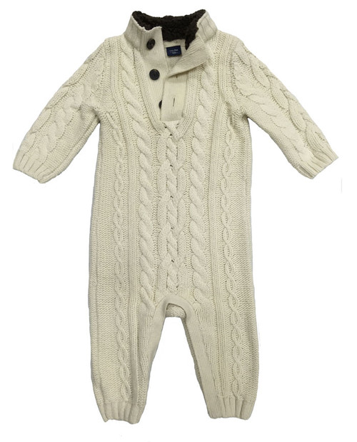 Vanilla Cable Knit Mock Romper, Baby Boys