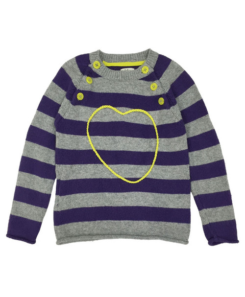 Purple Striped Heart Sweater, Little Girls