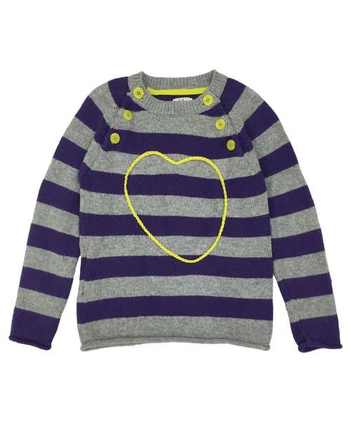 Purple Striped Heart Sweater, Little Girls