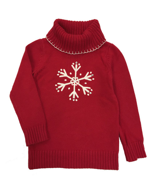 Red Snowflake Turtleneck Sweater, Little Girls