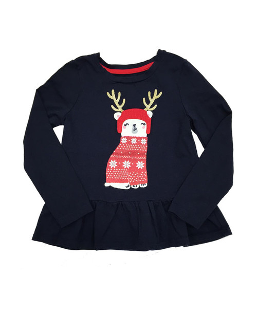 Navy Bear Peplum Top, Little Girls