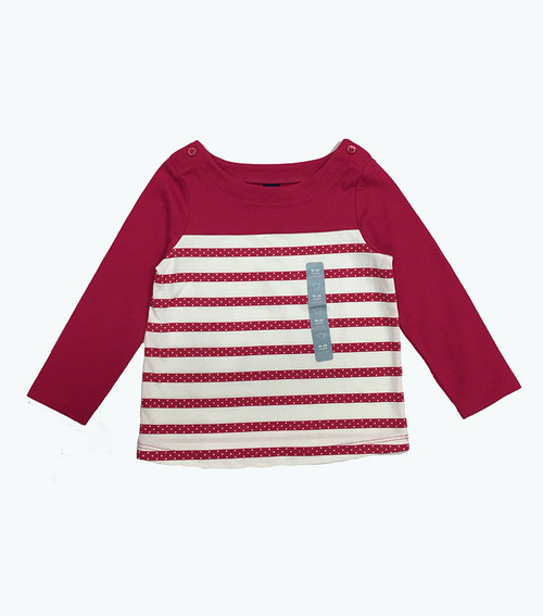 Raspberry Striped Long Sleeve Tee, Baby Girls