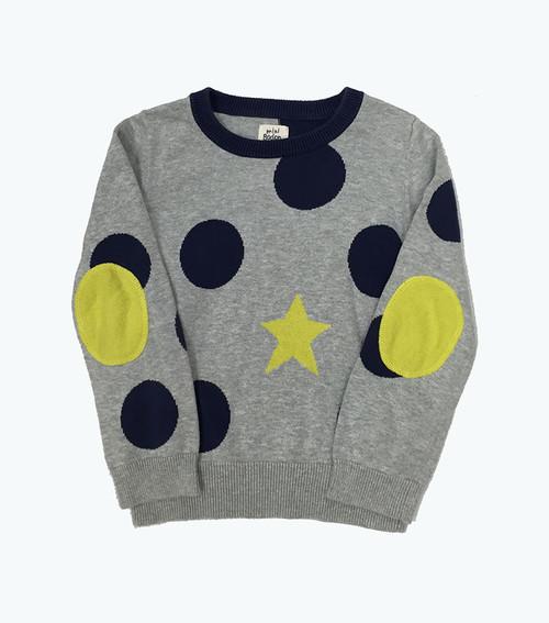 Gray & Blue Elbow-Patch  Sweater, Little Girls