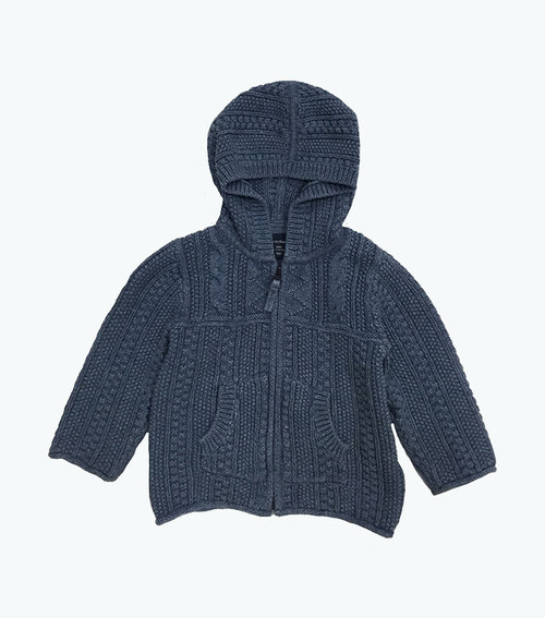 Dusty Blue Hooded Knit Cardigan, Baby Boys