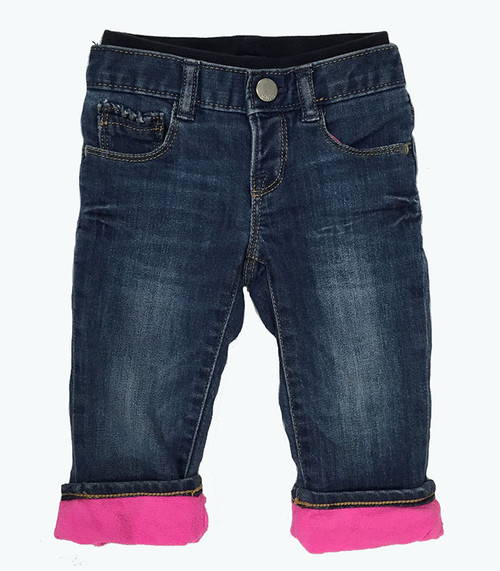 Fleece Pull-On Denim Jeans, Baby Girls