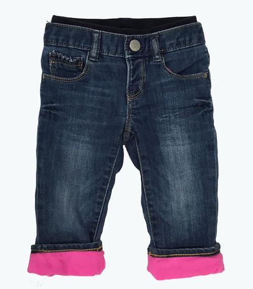Fleece Pull-On Denim Jeans, Baby Girls
