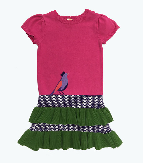Pink Green Ruffle Sweater Dress, Little Girls