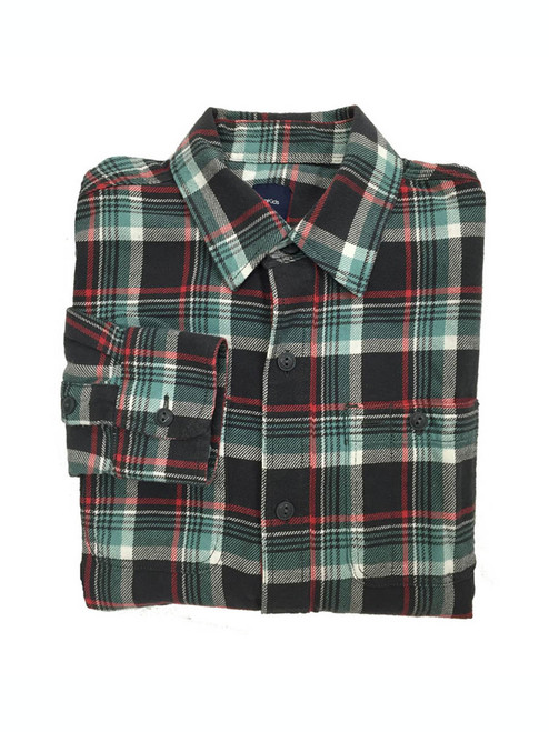 Teal and Black Plaid Flannel Shirt, Big Boys