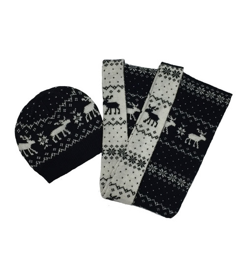 Black & White Moose Scarf and Hat Set, Big Girls