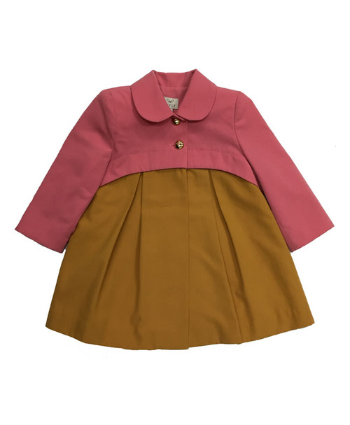 Grapefruit Two-Toned Coat, Toddler Girls