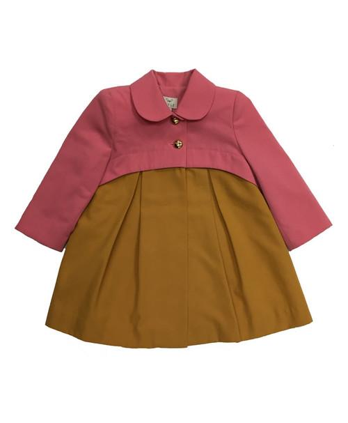 Grapefruit Two-Toned Coat, Toddler Girls