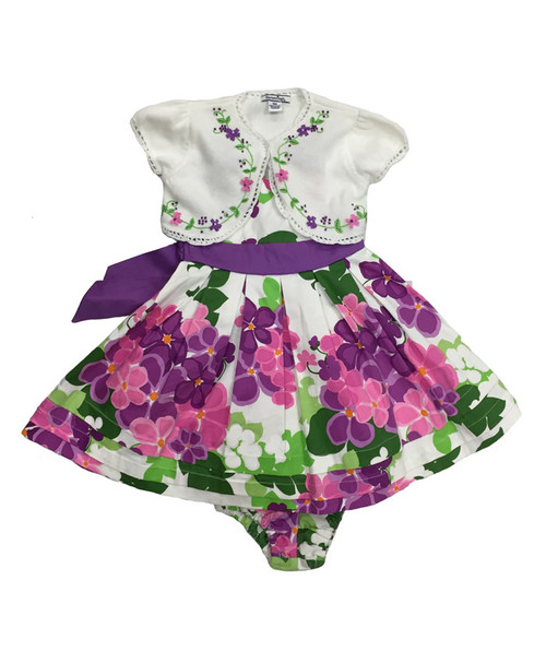 Purple Blossom Print Dress w/ Matching Shrug, Baby Girls