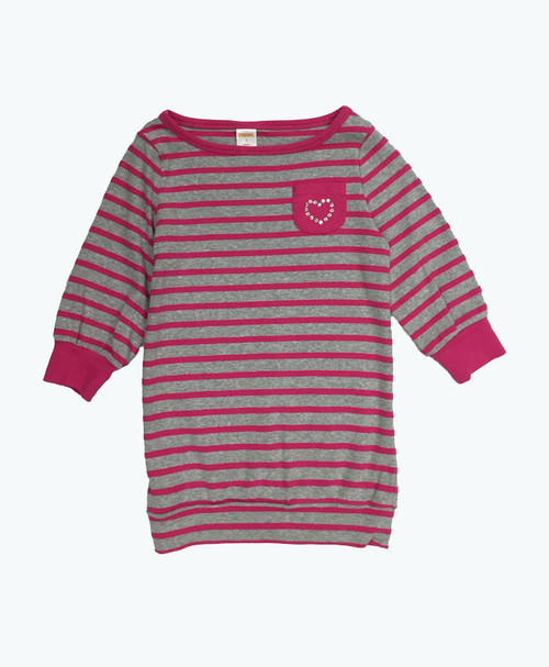 Fuchsia & Gray Gem Heart Tunic, Little Girls