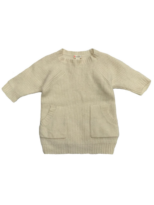 Ivory Wool Pullover Sweater, Toddler Girls