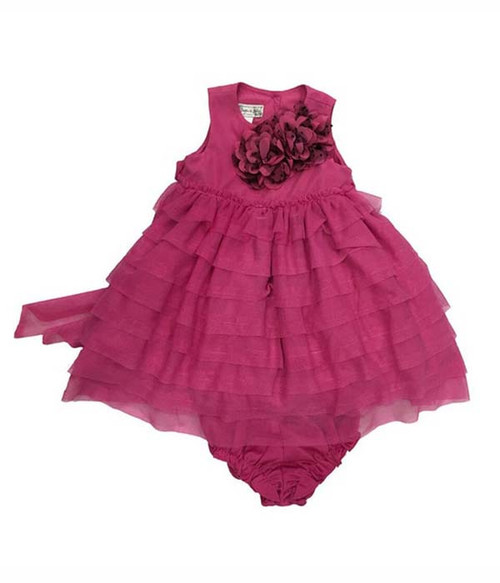 Berry Pink Ruffle Tulle Dress, Baby Girl