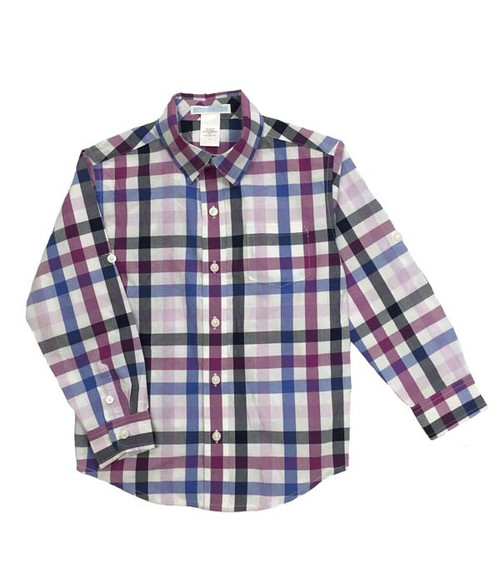 Plaid Roll-Cuff Shirt, Little Boys