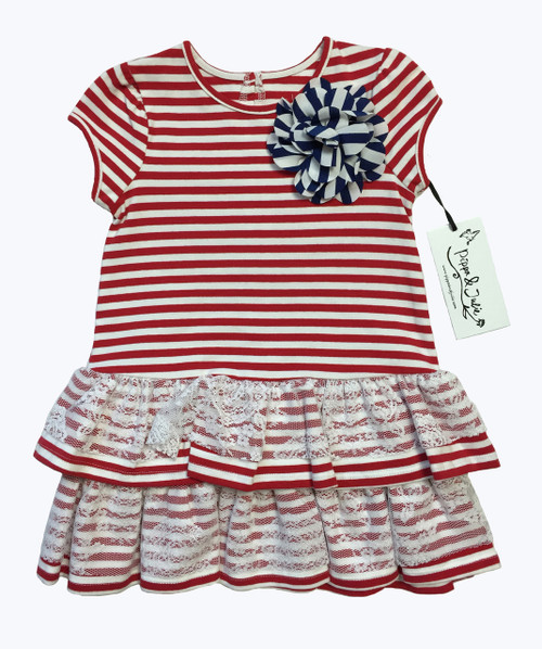 Red White Striped & Lace Dress, Toddler Girls