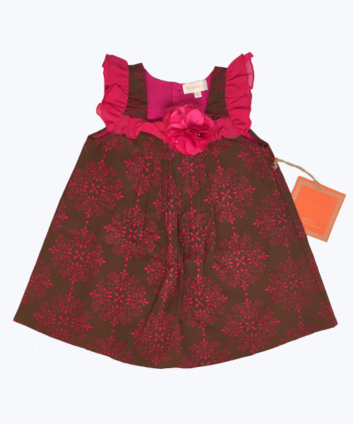Brown Fuchsia Flower Dress, Toddler Girls