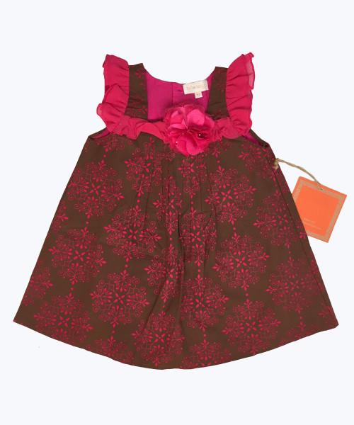 Brown Fuchsia Flower Dress, Toddler Girls