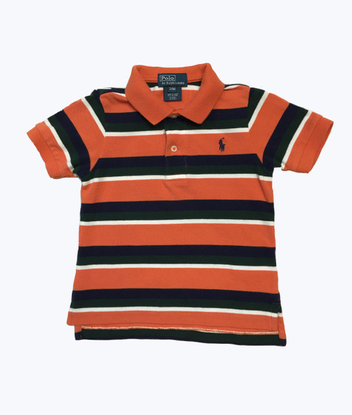 Orange Navy Striped Pique Polo Shirt, Baby Boys