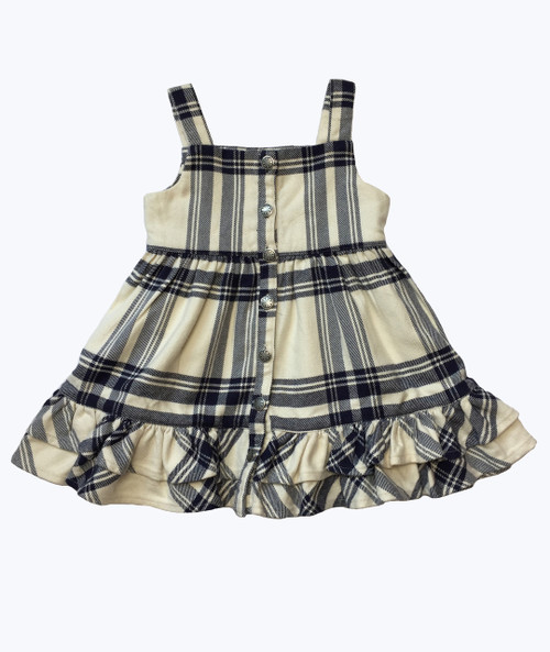 Cream & Navy Plaid Ruffle Jumper Dress, Baby Girls