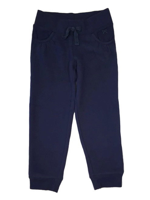 Navy Ribbed Waist Jogger Pants, Little Girls
