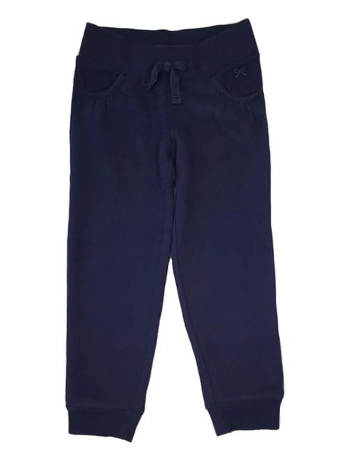 Navy Ribbed Waist Jogger Pants, Little Girls