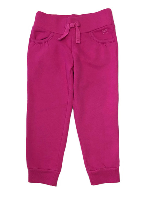 Fuchsia Ribbed Waist Jogger Pants, Toddler Girls